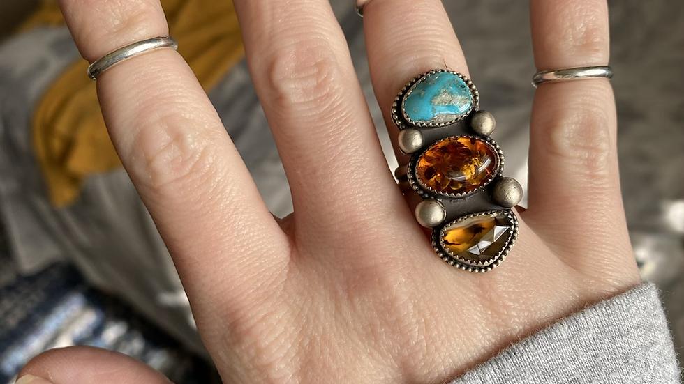 Sleeping Beauty, Baltic Amber, Montana Agate Ring