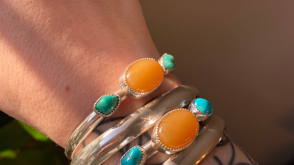 Mustard Yellow Jade and American Turquoise Nugget Cuff