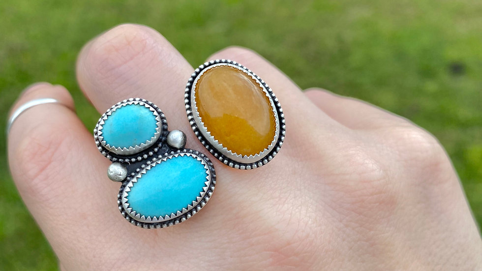 Mustard Jade and Sleeping Beauty Turquoise Ring