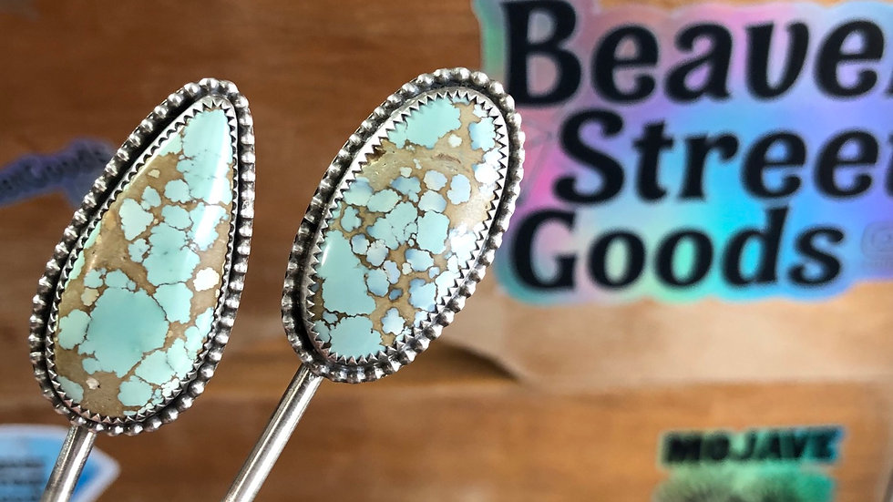 Pale Blue Oval Hubei Turquoise Hair Stick