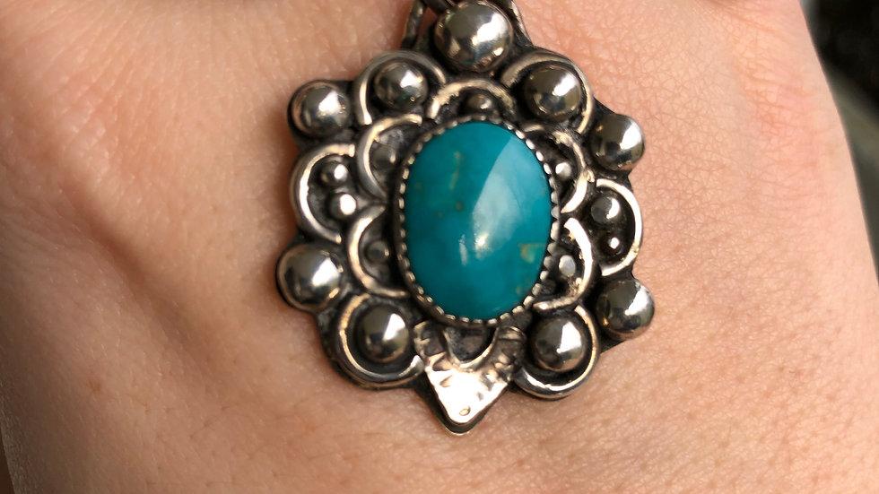 Sterling Silver Turquoise Mandala Necklace - Destash