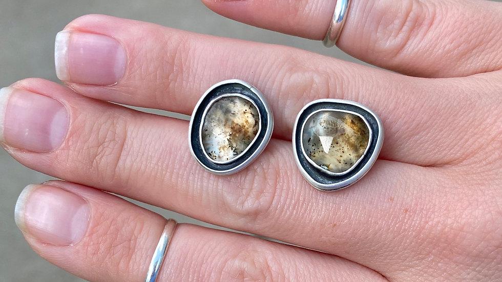 Rose Cut Montana Agate Stud Earrings