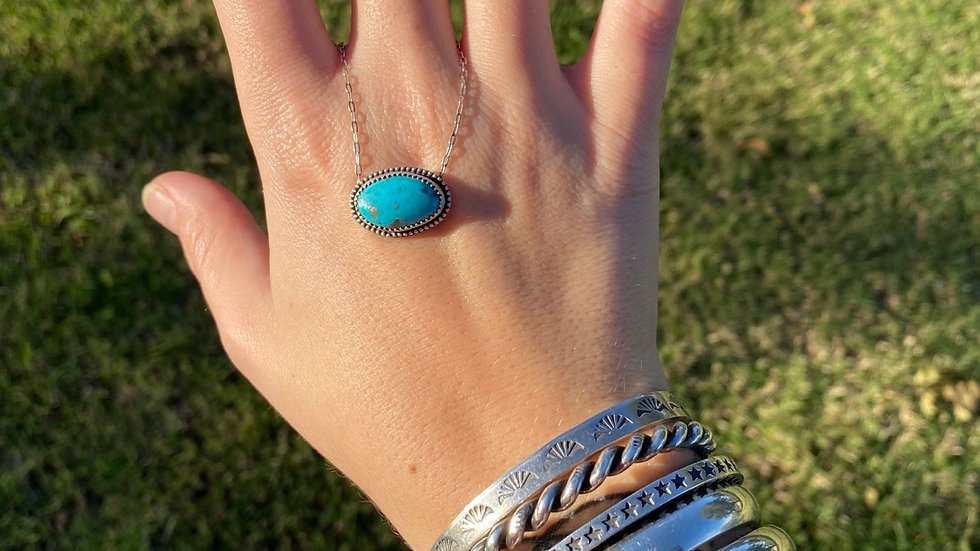 Pyrite Flecked Tonapah Turquoise Necklace
