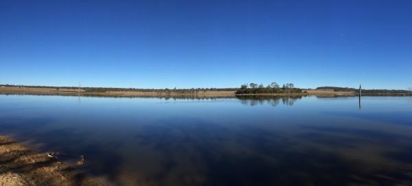 Looking west across the dam