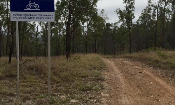 Signage warning rough trail ahead