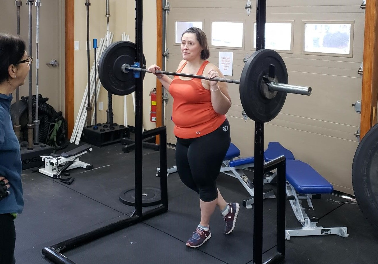 Maureen Getting Encouragement Before Her Squat Set