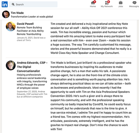 Testimonials for Tim Wade from LinkedIn.