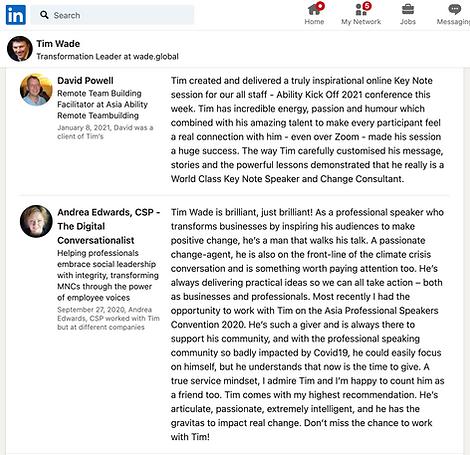 Testimonials for Tim Wade from LinkedIn.