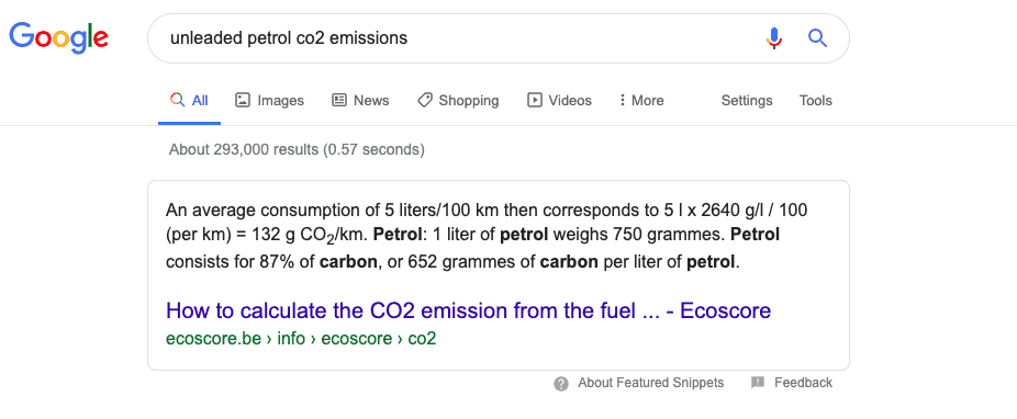 One minute of research into Carbon in petrol.