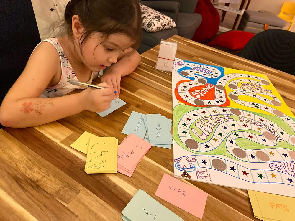 My daughter Zoe helping make a board game at home