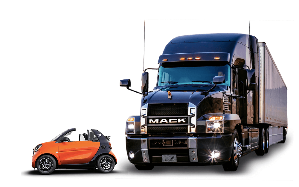 Smart Fortwo cars consume less fuel per 10,000km than Mack Trucks.