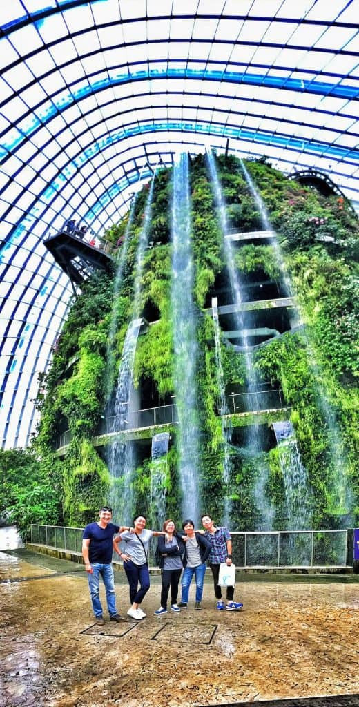 The sensational waterfall in Cloud Forest at Gardens by the Bay