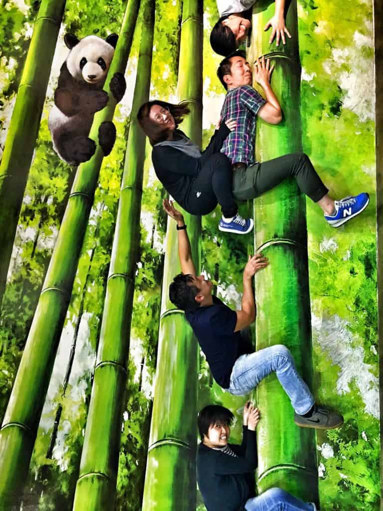 Tricky bamboo perspectives at the Trick Eye museum – Tim Wade's team-building for Expedia