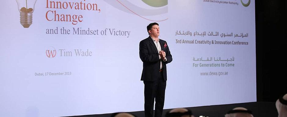 Tim Wade speaking in Dubai