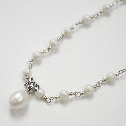 Pearl Necklace Sterling Silver 551022