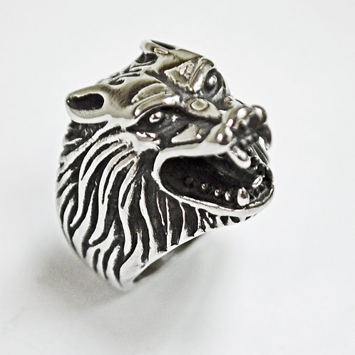 Wolf Head Ring Stainless Steel (17x25mm) 81-455