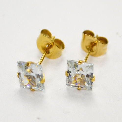 7mm Sq Gold Plated CZ Earrings-10 Pairs