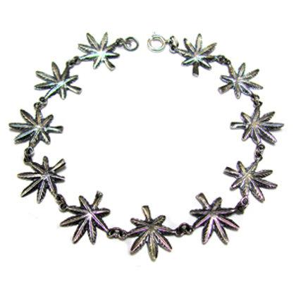 Marijuana Leaf Sterling Silver Bracelet 542046