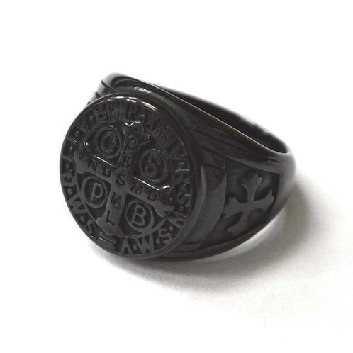 SAN BENETO BLACK PLATED RING 81-1183B