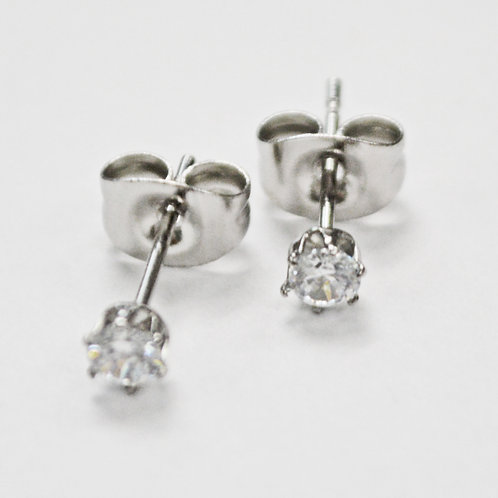 3mm Round CZ Earrings-10 Prs