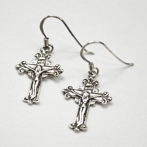 Crucifix Cross Sterling Silver Earrings 531108