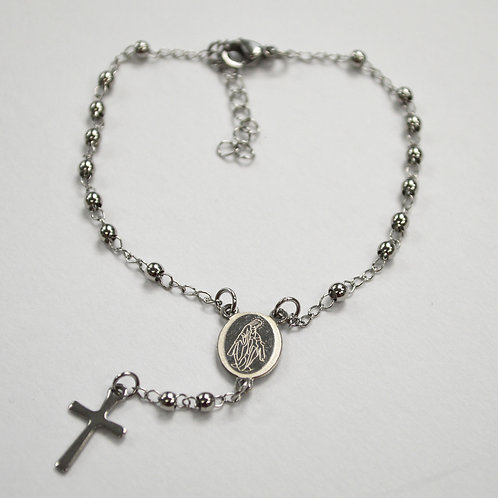 3mm Stainless Steel Rosary Bracelet 87-23S