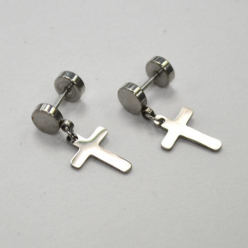 Dangling Cross  Earring Screw Back 83-760S-L