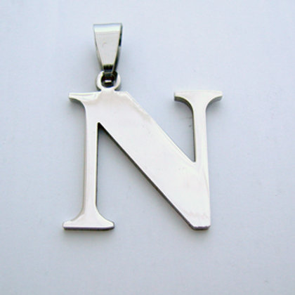 N Initial Pendant Stainless Steel (18x22mm)