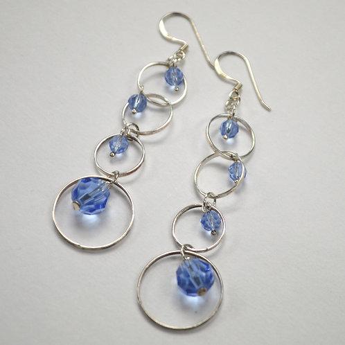 Crystal Stones Sterling Silver Earrings 534080-1