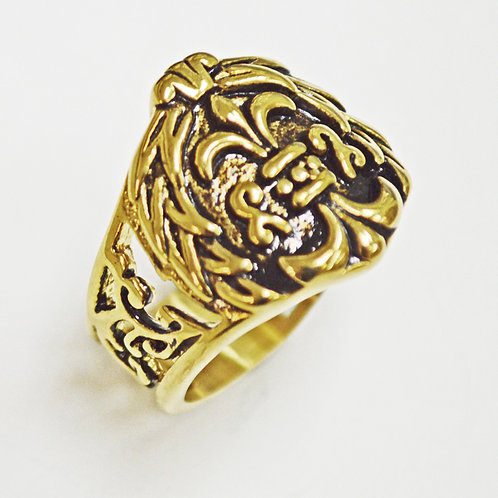 FLEUR DE LIS GOLD IP PLATE RING (19mm) 81-1249G