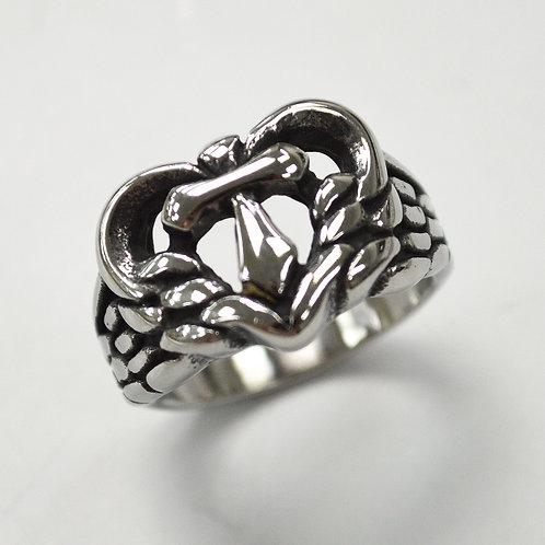Heart Cross Stainless Steel Ring 81-1364