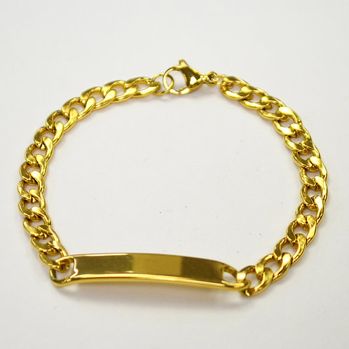 ID Curb Link Gold Plated Bracelet 84-1745G-6