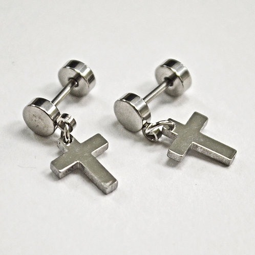 Dangling Cross Earring Screw Back 83-760S