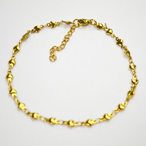 TINY CONNECT HEART Gold Plated Anklet  82-166G