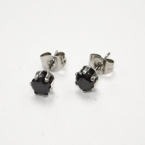 5mm Round Black CZ Stud Earring