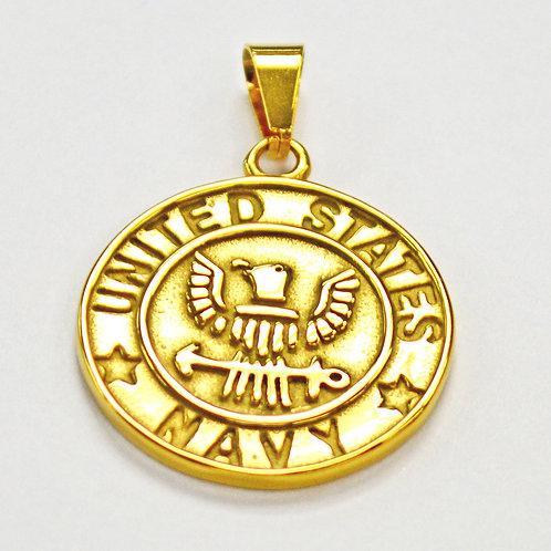 US Navy Medallion Pendant Gold IP Plate 86-871G