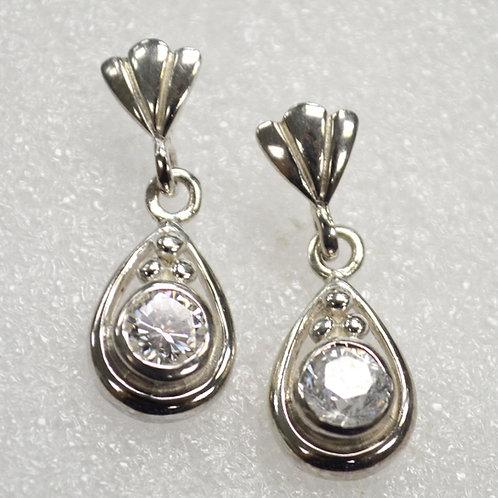 CZ Stone Sterling Silver Earrings 533024