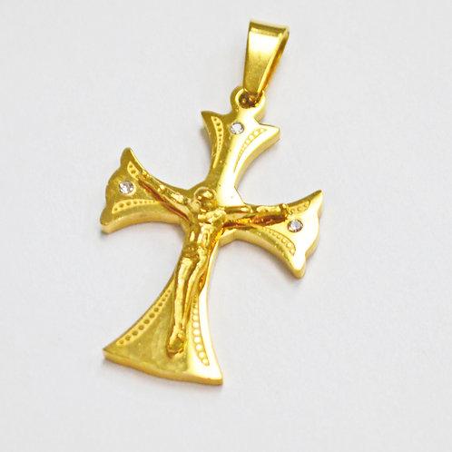 Crucifix Gold IP Plate Pendant 86-447G