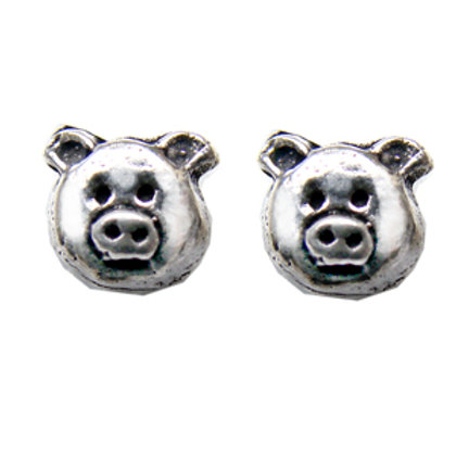 Pig Face Stud Earring Sterling Silver 535024