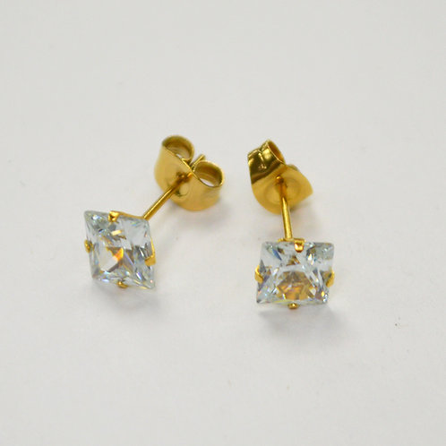 6mm Sq Gold Plated CZ Earrings-10 Pairs