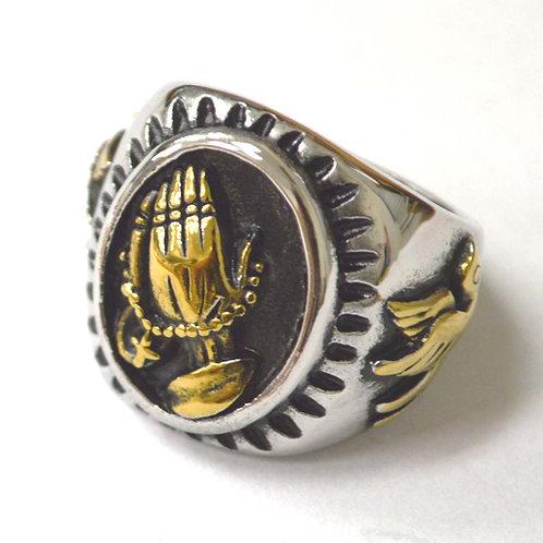 Praying Hand 2 Tone Gold Ring 81-1477-2T