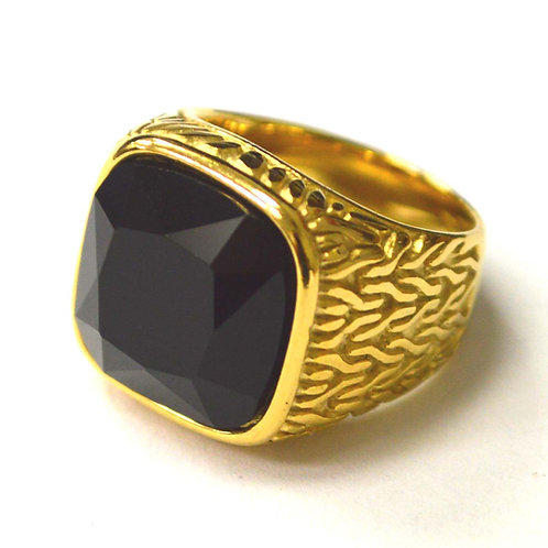 Black CZ Stone Gold IP Plated Ring 81-1474G-Blk
