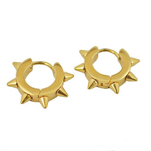 GOLD SPIKE HUGGIE EARRINGS 83-422G
