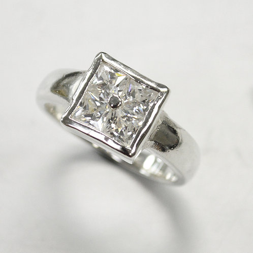 CZ Stone Ring Sterling Silver 512064