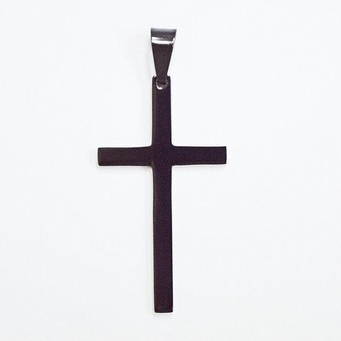 Plain Cross Black Plate Pendant 86-1004B