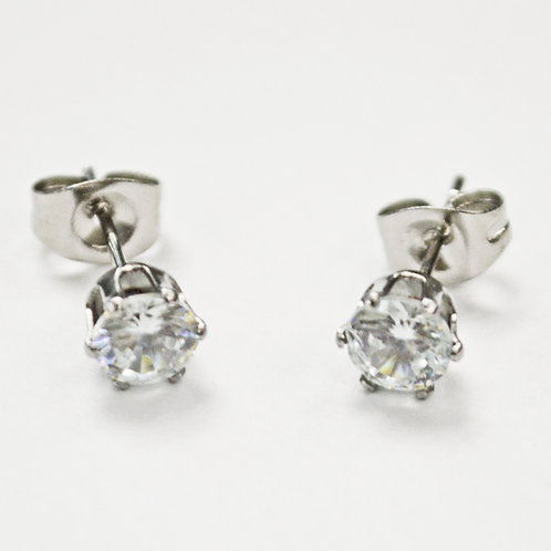 5mm Round CZ Earrings-10 Pairs