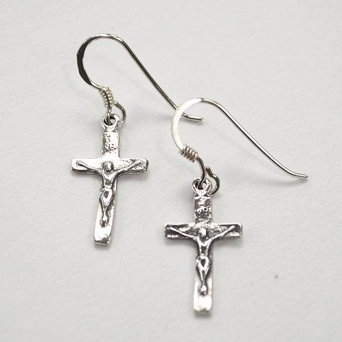Crucifix Cross Sterling Silver Earrings 531078