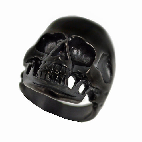 BLACK PLATED SKULL HEAD RING (20x31mm) 81-513B