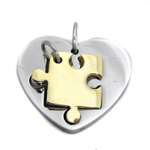 Heart Puzzle Stainless Steel Pendant (28x24mm)