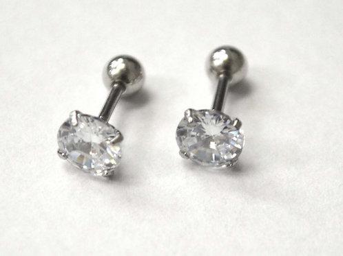 Screw Back CZ Stud Earrings (6mm)83-818-3